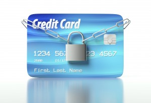Credit card padlock and chain, concept of security
