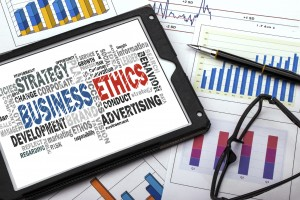 business ethics word cloud with related tags